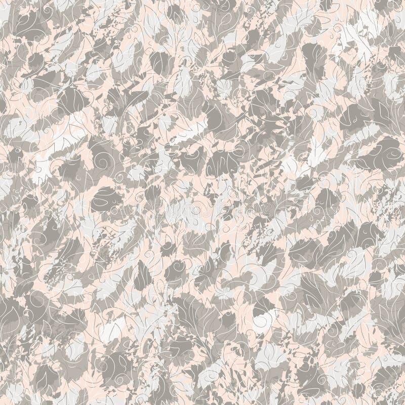 Abstrakta gråa fläckar och klotterkonturer av blommor och sidor på rosa bakgrund stock illustrationer