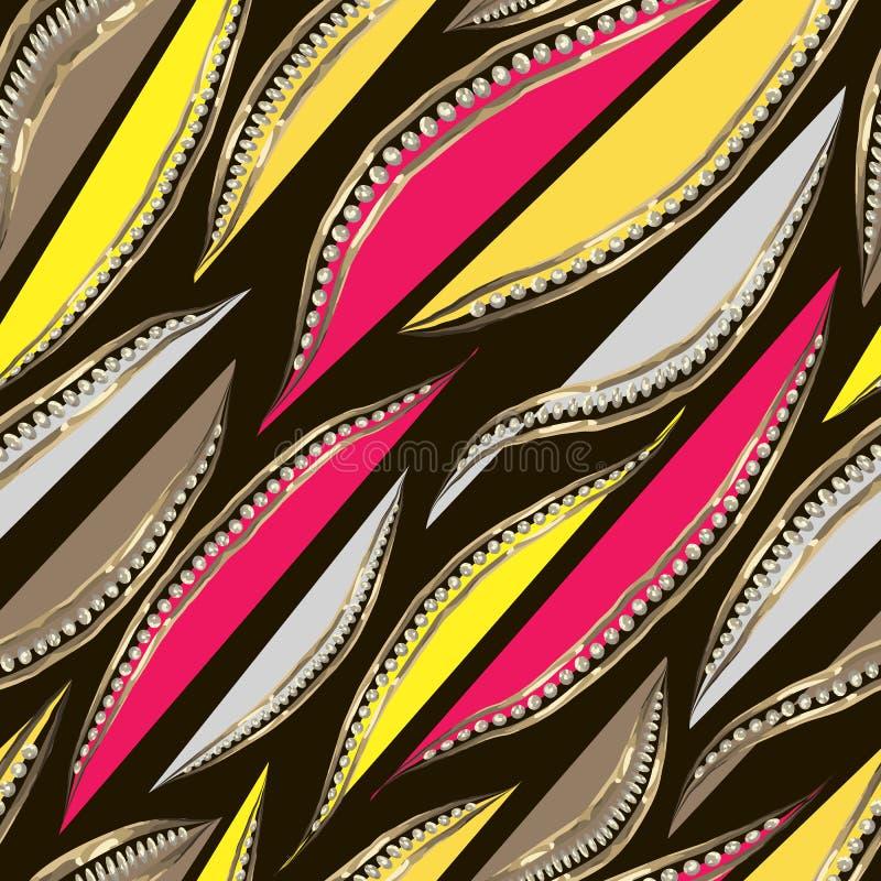 Abstrakta gråa, gula och karmosinröda kronblad med den guld- ramen med diamanter royaltyfri illustrationer