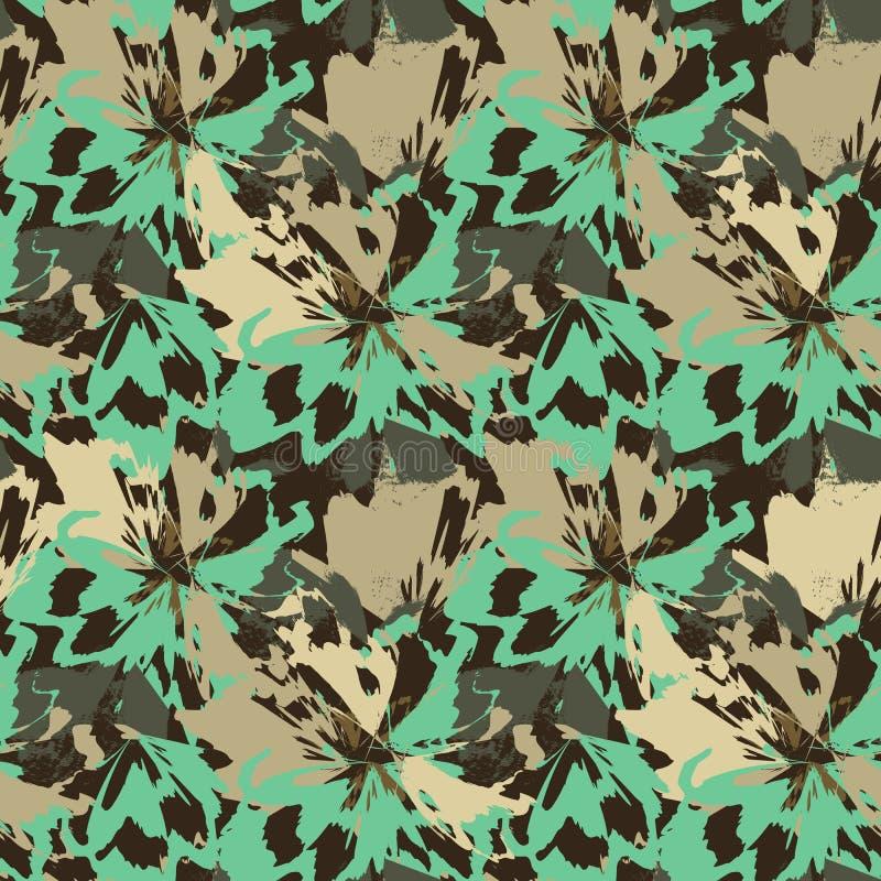 Abstrakta gröna och beigea blommor som djurt motiv för leopard royaltyfri illustrationer