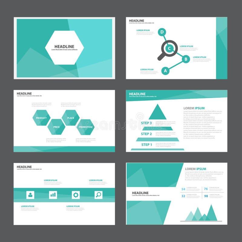 Abstrakta gröna presentationsmallInfographic beståndsdelar sänker designuppsättningen för marknadsföring för broschyrreklambladbr vektor illustrationer