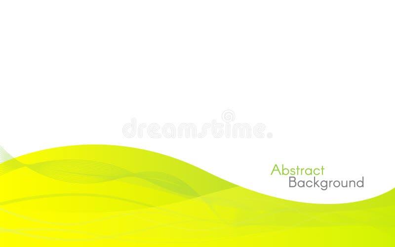 Abstrakta gröna vågor på vit bakgrund Minimalistic designmall Gula lutninglinjer Modern bakgrund för stock illustrationer