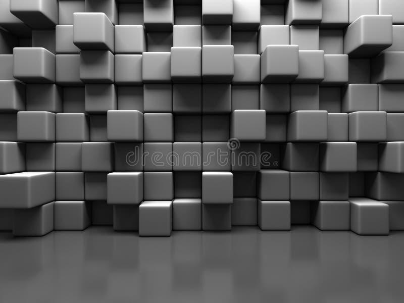 Abstrakta Gray Cube Blocks Wall Background royaltyfri illustrationer
