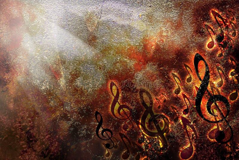 Abstrakta grunge muzyki szkotowego ogienia tekstury tła płonąca rama royalty ilustracja