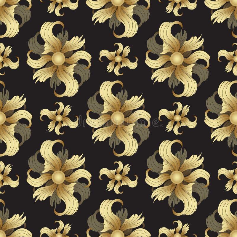 Abstrakta guld- blommor, sömlös modell Guld- knoppar, krullade kronblad på svart bakgrund Juvelprydnad Rik lyxig design royaltyfri illustrationer