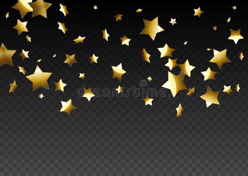 Abstrakta guld- stjärnor på genomskinlig bakgrund royaltyfri illustrationer