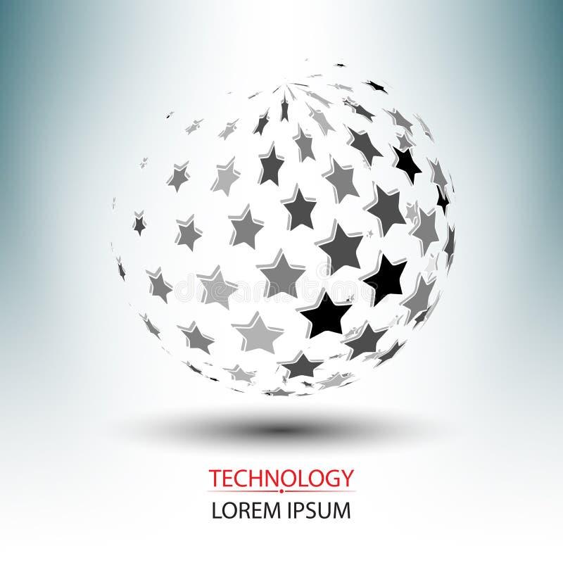 Abstrakta gwiazdowy logo i sieci technologii pojęcia projekt ilustracja wektor