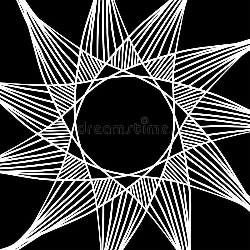 Abstrakta gwiazdowy wektorowy projekt biel lampasy na czarnym tle royalty ilustracja