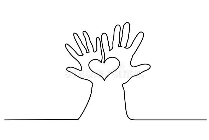 Abstrakta händer kvinna och man som rymmer hjärta vektor illustrationer