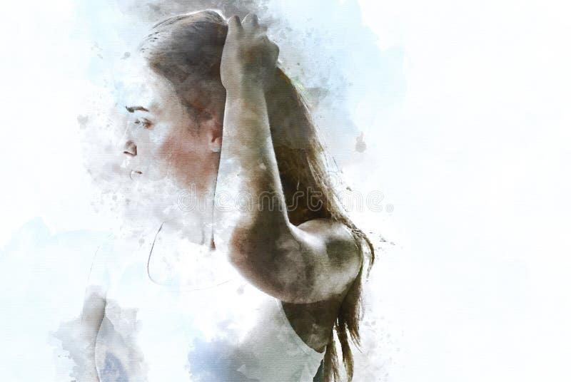 Abstrakta härliga kvinnor som är sexiga på vattenfärgmålningbakgrund stock illustrationer