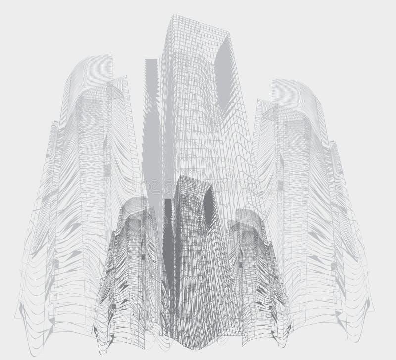 Abstrakta h?ga byggnader stock illustrationer
