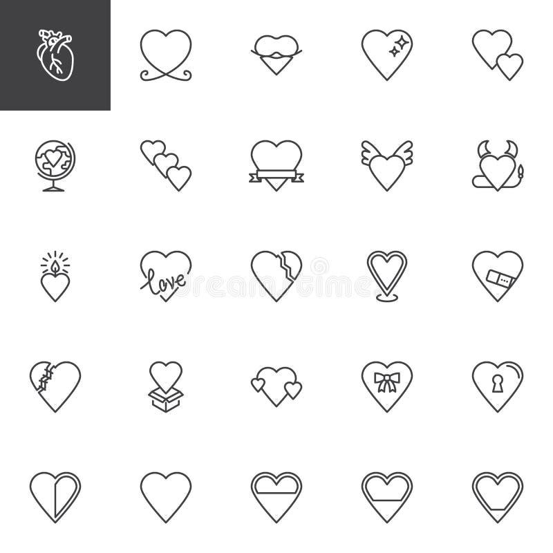 Abstrakta hjärtor älskar linjen symbolsuppsättning stock illustrationer