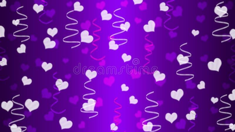 Abstrakta hjärtor och band i purpurfärgad lutningbakgrund stock illustrationer