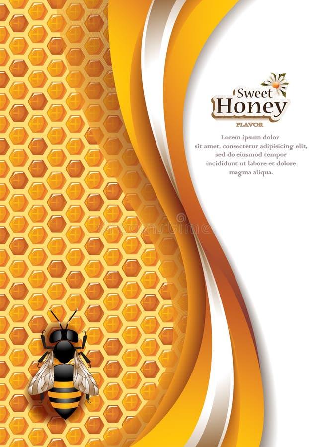 Abstrakta Honey Background med det funktionsdugliga biet royaltyfri illustrationer