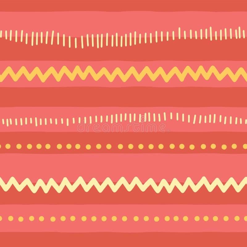 Abstrakta horisontallinjer för sömlös vektorklottermodell, sicksack, prickar, band Röd rosa gul stam- bakgrund textur för vektor illustrationer