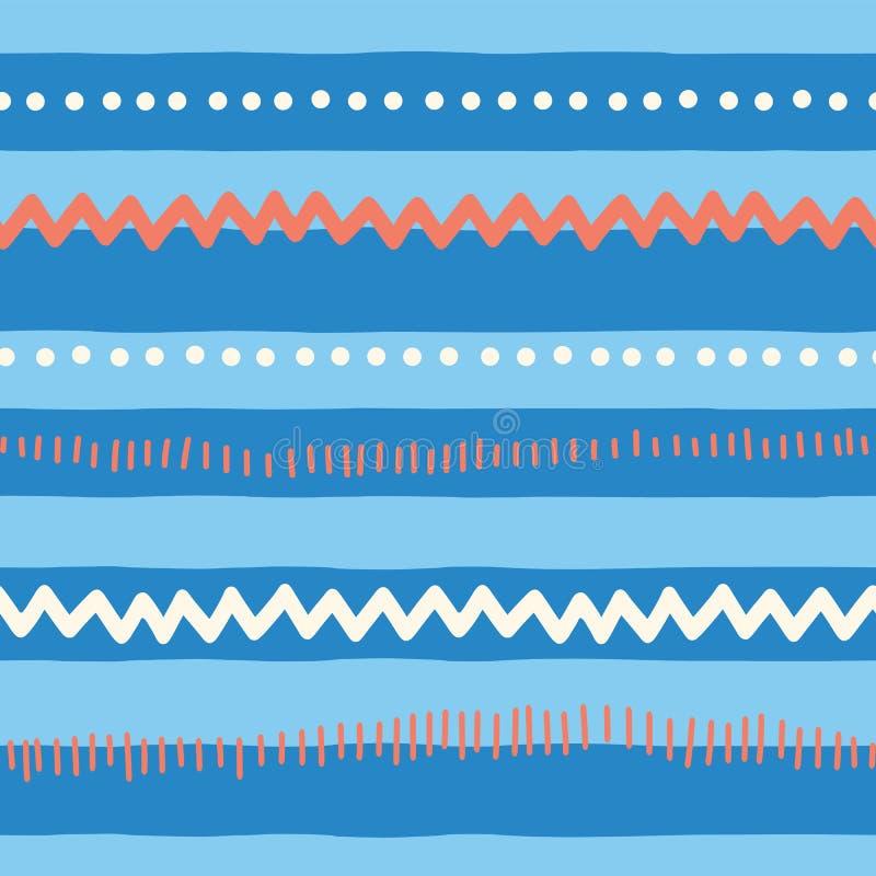 Abstrakta horisontallinjer för sömlös vektormodell, sicksack, prickar, band Röd och blå stam- klotterbakgrund textur för royaltyfri illustrationer