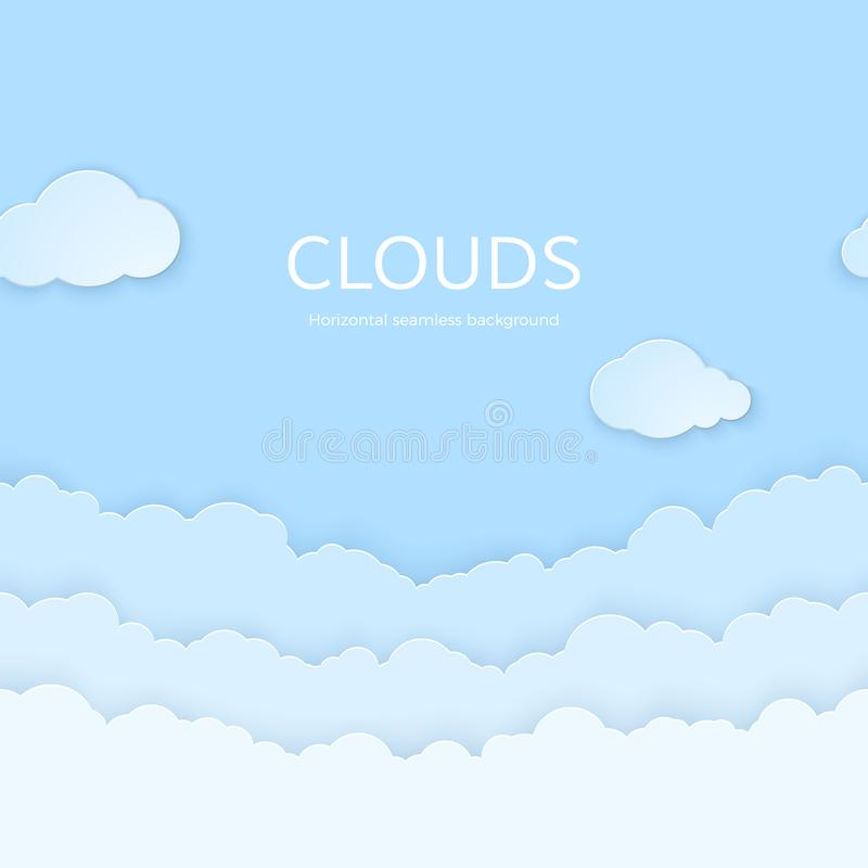 Abstrakta horisontalsömlösa pappers- moln Skyla ?ver brister moln p? bl?ttbakgrund ocks? vektor f?r coreldrawillustration stock illustrationer