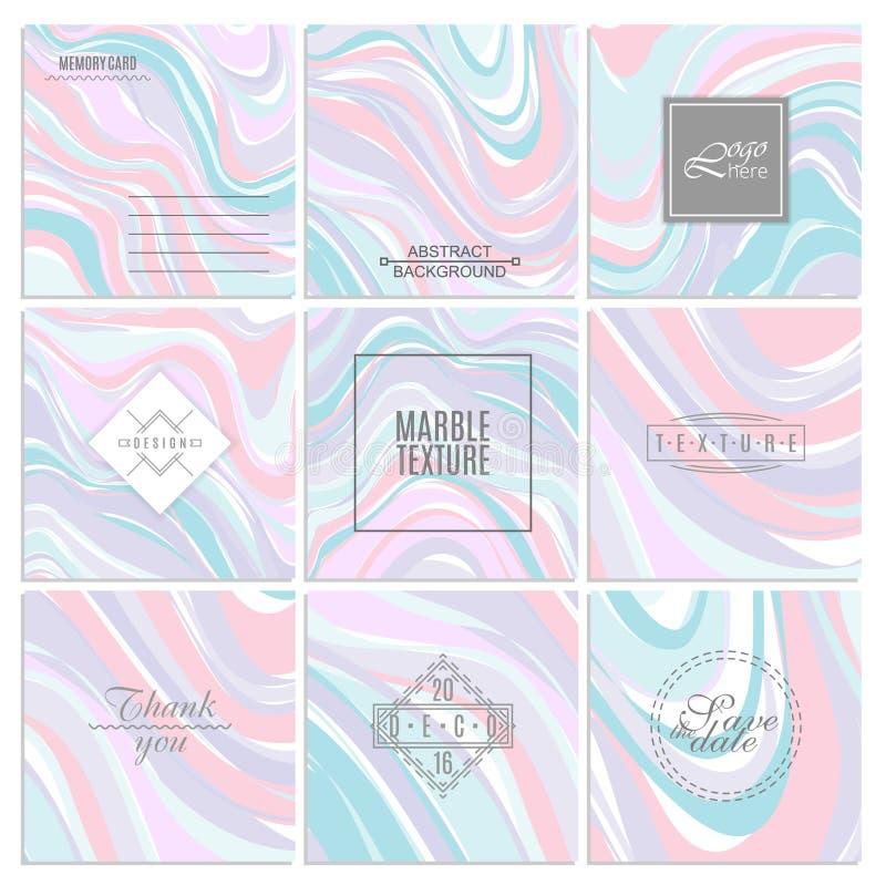 Abstrakta idérika kortmallar Bröllop meny, inbjudningar, födelsedag royaltyfri illustrationer