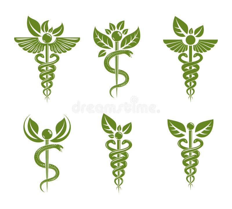 Abstrakta illustrationer samling för Aesculapius vektor, Caduceussymboler som komponeras med gröna sidor, och fågelvingar för bru stock illustrationer