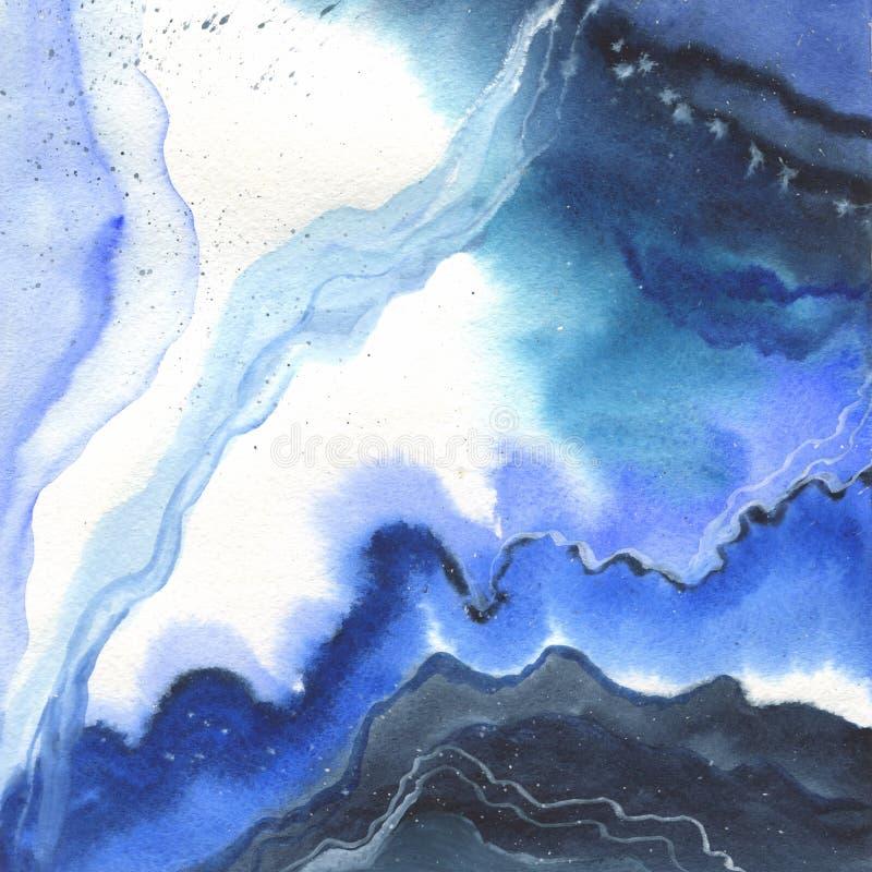 Abstrakta isolerad teckning för vattenfärgpappersfärgstänk former stock illustrationer