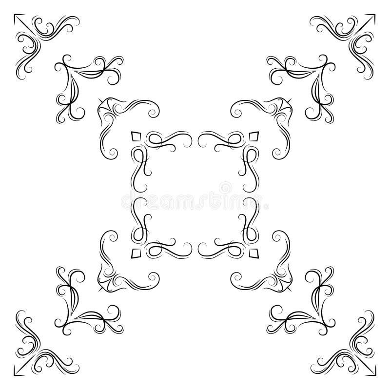 Abstrakta kąta wzór Set roczników kaligraficzni liniowi kąty dla retro ram ilustracji