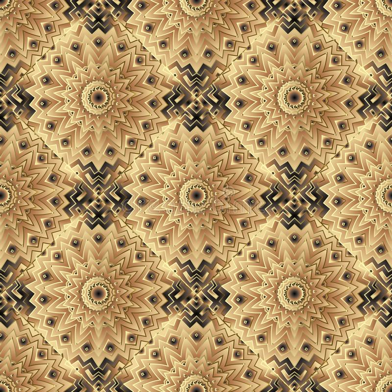 Abstrakta kafelkowy kwiecisty wektorowy bezszwowy wzór Ornamentacyjny kolorowy geometryczny tło Mandalas, kwiaty, zygzag linie et ilustracja wektor