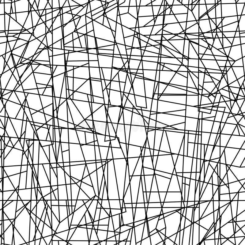 Abstrakta kaotiska linjer i en sömlös modell royaltyfri illustrationer