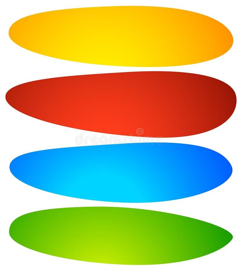 Abstrakta knapp- eller banerbakgrunder, former abstrakt färgrikt vektor illustrationer