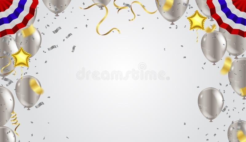 Abstrakta konfettier för bakgrundspartiberöm inramar mallwi stock illustrationer