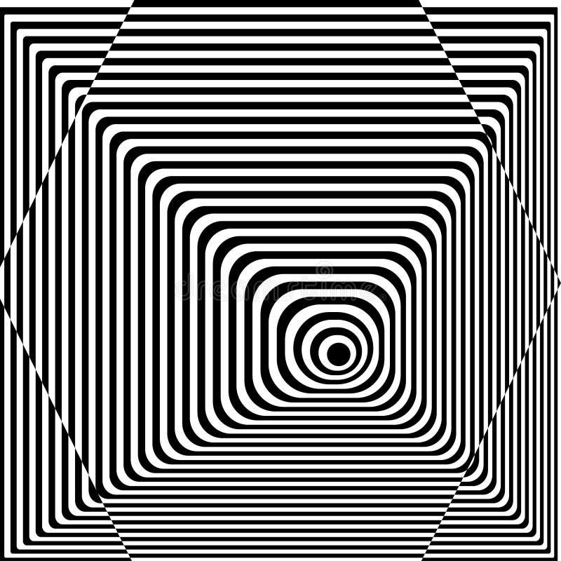 Abstrakta kręcony czarny i biały tło Okulistyczny złudzenie zniekształcająca powierzchnia Kręceni lampasy Stylizowana 3d tekstura royalty ilustracja