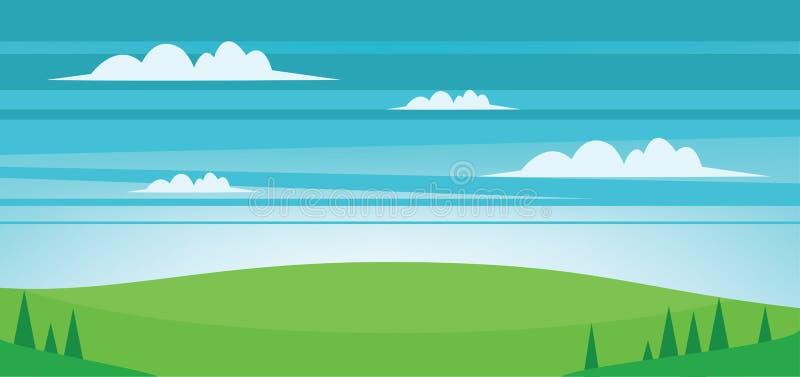Abstrakta krajobraz z polami, drzewami i chmurami zieleni, ilustracji