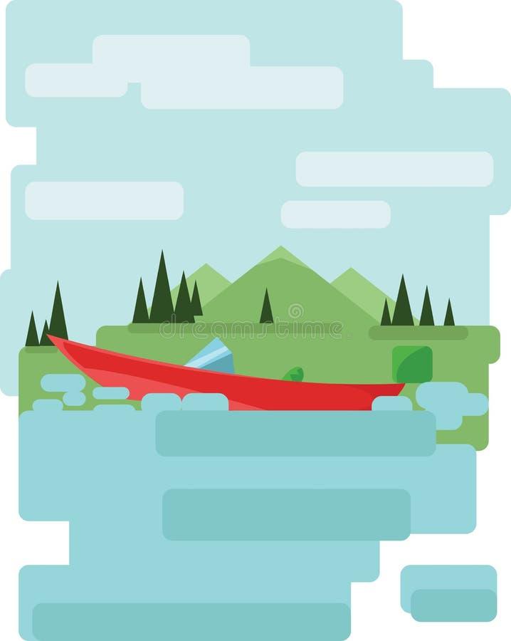 Abstrakta krajobrazu projekt z zielonymi drzewami i chmurami, czerwona łódź na jeziorze, mieszkanie styl royalty ilustracja