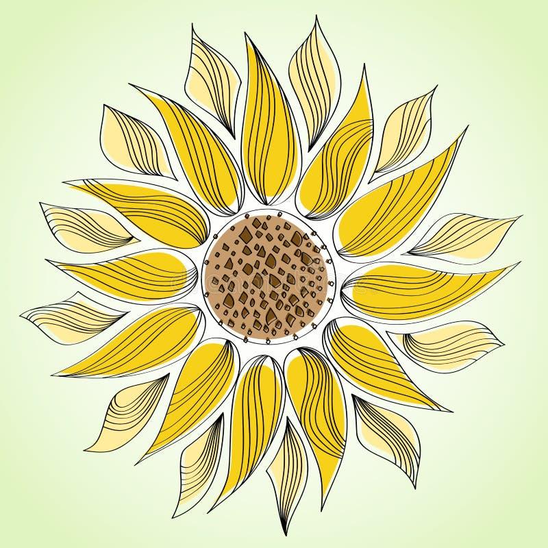 Abstrakta kreskowy słonecznik ilustracja wektor