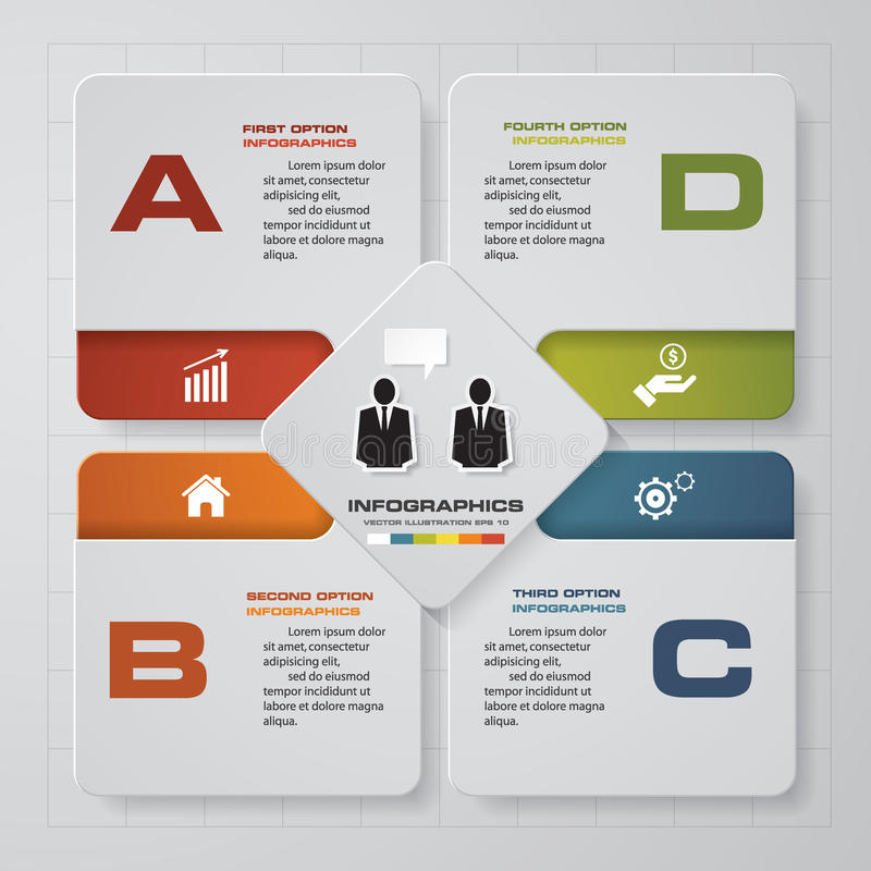 Abstrakta 4 kroków infographis elementy również zwrócić corel ilustracji wektora ilustracji