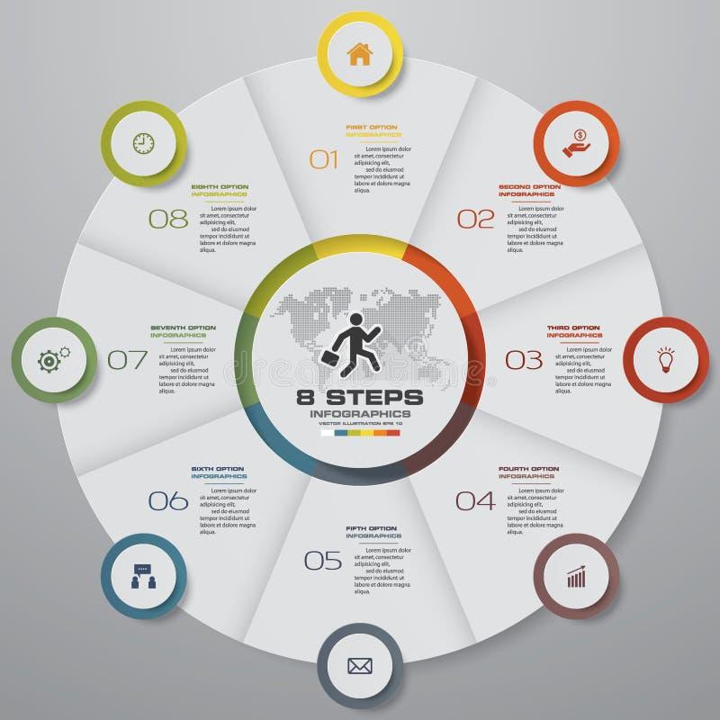 Abstrakta 8 kroków pasztetowej mapy infographics elementy również zwrócić corel ilustracji wektora ilustracji