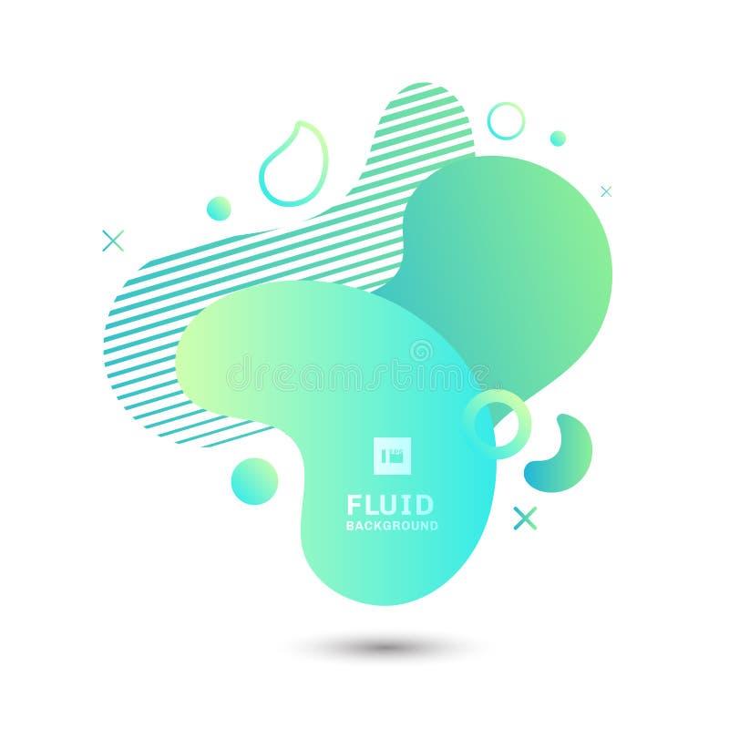 Abstrakta kształta elementów zielony rzadkopłynny graficzny skład na białym tle Geometryczny ciekły projekta szablon dla prezenta ilustracja wektor
