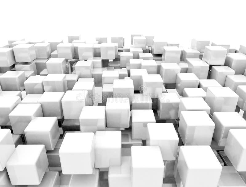 Abstrakta kuber för metall 3d royaltyfri illustrationer