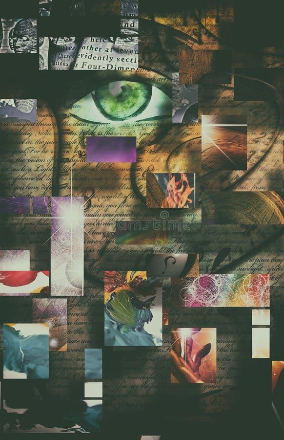 Abstrakta kvinnas framsida royaltyfri illustrationer