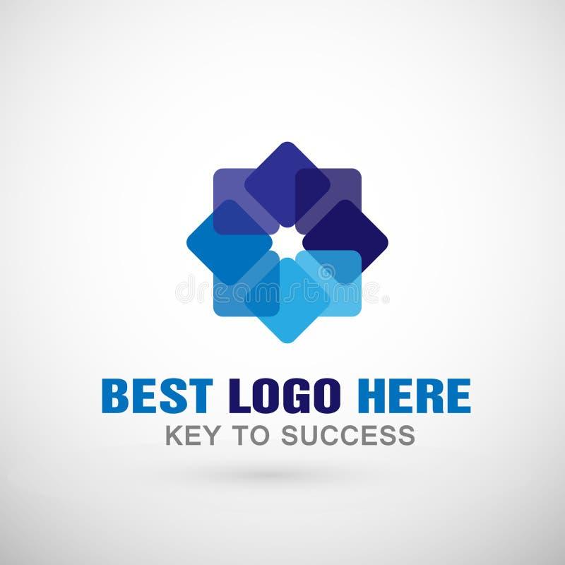 Abstrakta kwadrat kształtujący biznesowy logo, zjednoczenie na Korporacyjnym Inwestuje Biznesowego loga projekt Pieniężna inwesty ilustracja wektor