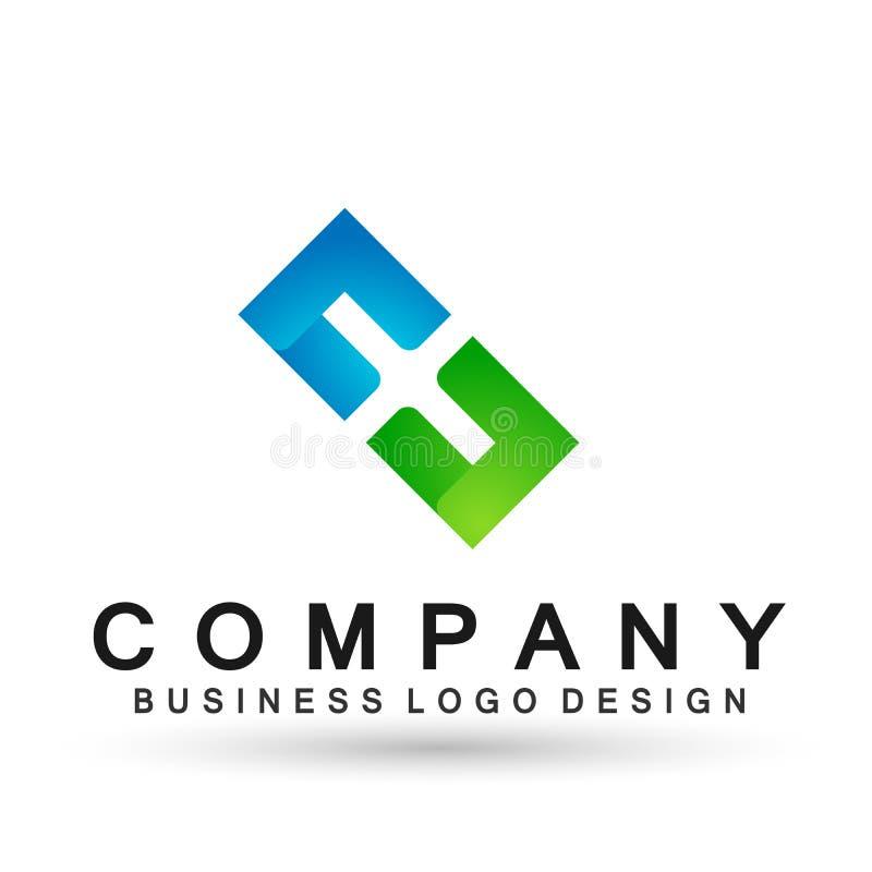 Abstrakta kwadrat kszta?tuj?cy biznesowy logo, zjednoczenie na Korporacyjnym Inwestuje Biznesowego loga projekt Pieni??na inwesty ilustracji