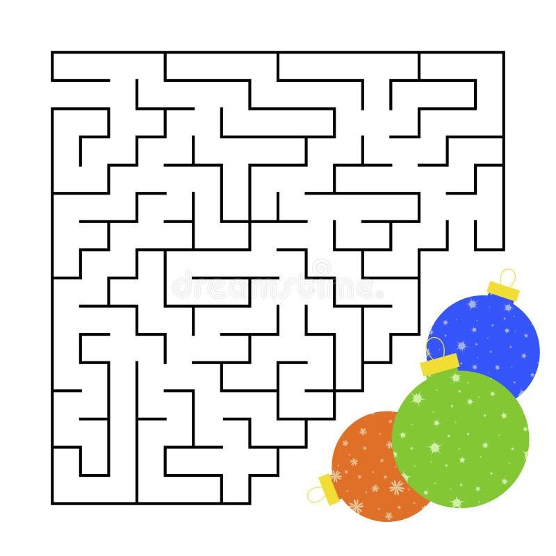 Abstrakta kwadratowy labirynt z koloru obrazkiem Round Bożenarodzeniowe piłki Ciekawa i pożytecznie gra dla dzieci Prosty płaski  ilustracja wektor