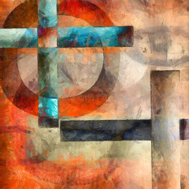 Abstrakta kwadratowy tło z jaskrawymi brzmieniami ilustracja wektor