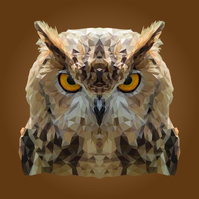 Abstrakta låga Poly Owl Design vektor illustrationer