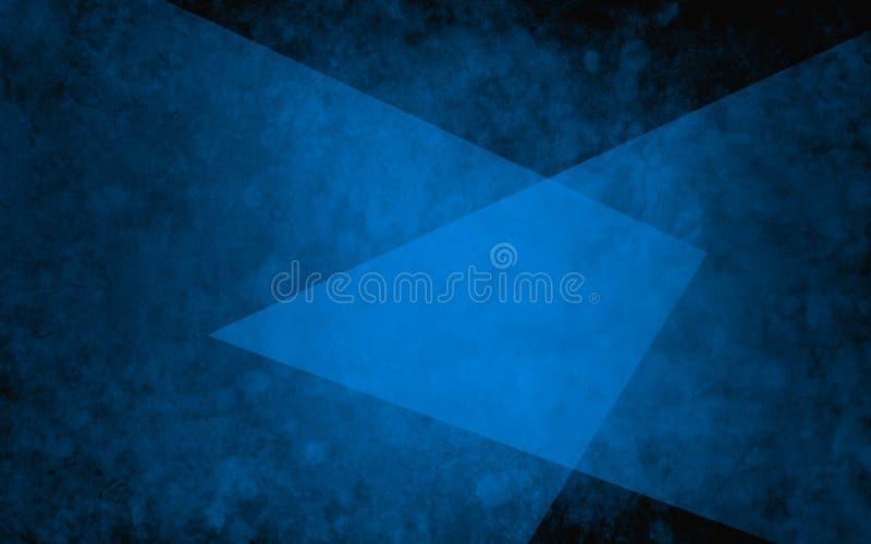 Abstrakta lager av blåa trianglar på texturerad svart bakgrund i elegant geometrisk design royaltyfri illustrationer
