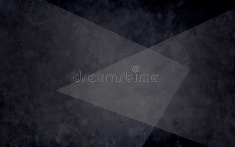 Abstrakta lager av svarta vita och gråa trianglar på texturerad svart bakgrund i elegant geometrisk design royaltyfri illustrationer