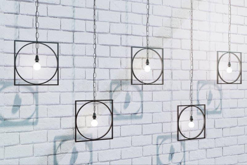 Abstrakta lampor på tegelstenväggen stock illustrationer