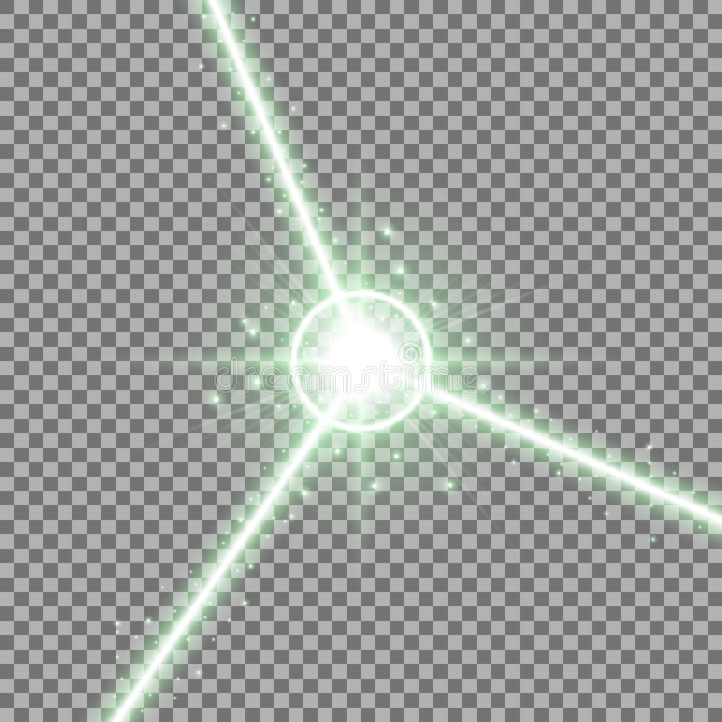 Abstrakta laserstrålar, grön färg stock illustrationer