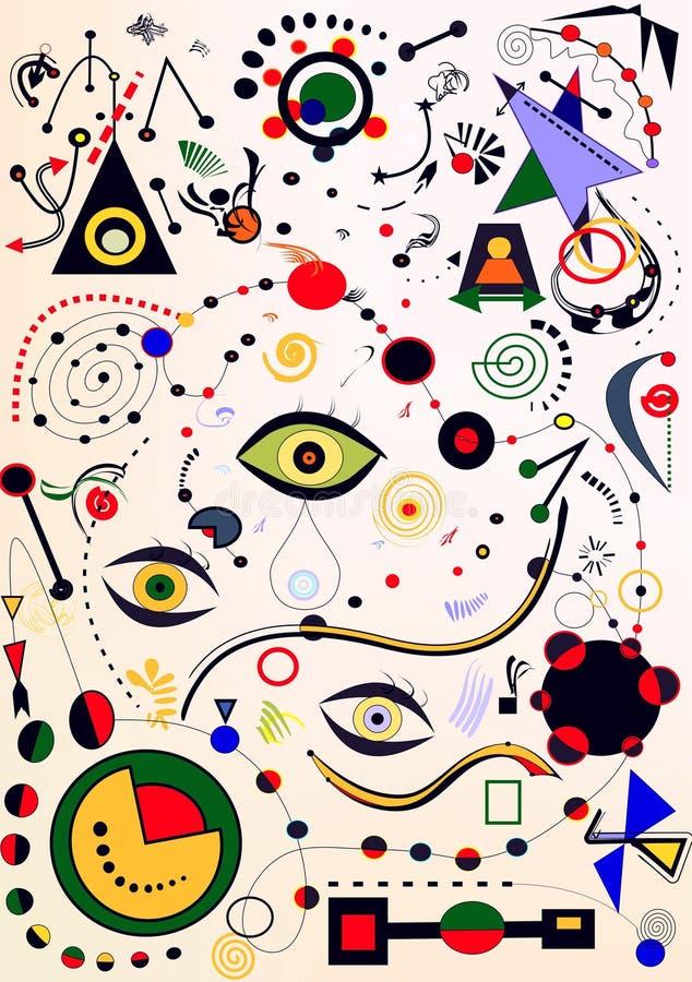 Abstrakta lekki tło, stylowy Miro ` malarz zdjęcie royalty free