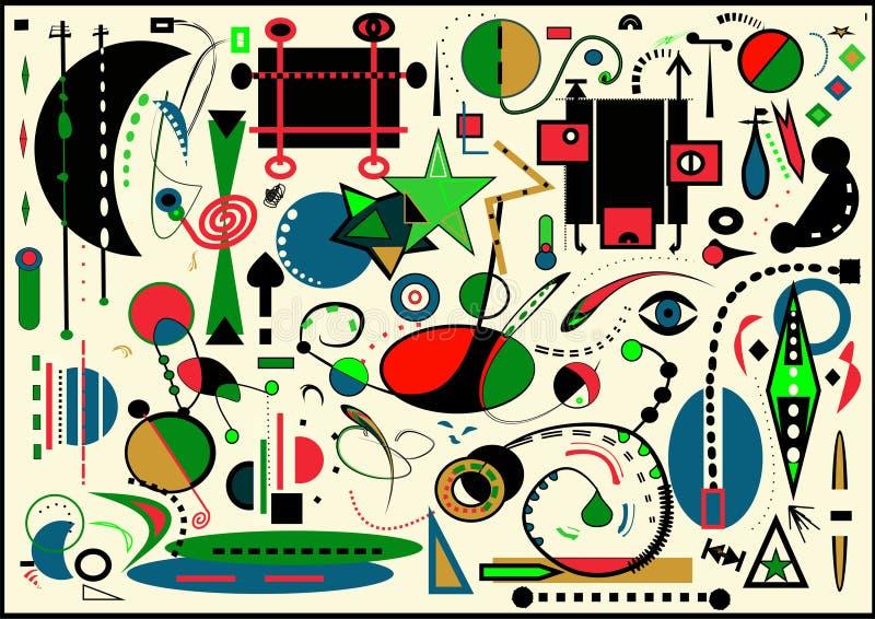 Abstrakta lekki tło, stylowy Miro ` malarz obraz royalty free