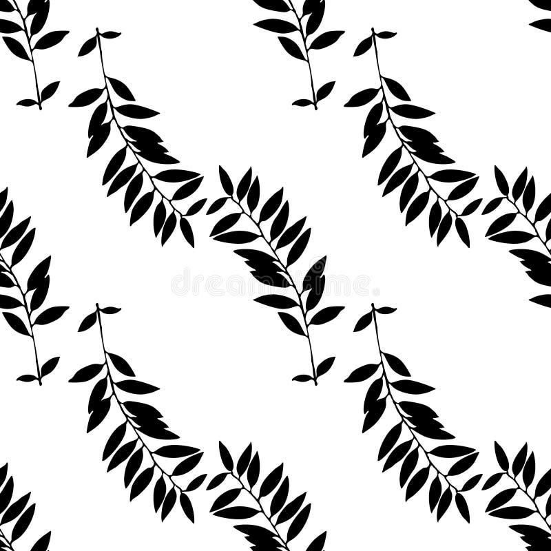 abstrakta liść wzór bezszwowy Ręki rysować liść sylwetki z skrobanin teksturami ilustracja wektor