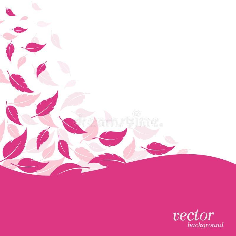 Abstrakta liścia różowy tło ilustracji